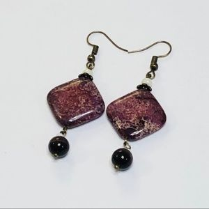 Purple Sea Sediment Jasper Cat's Eye Earrings